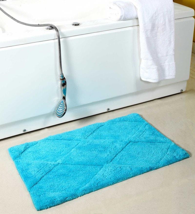 Blue Rhumbus 20 X 32 Inch Cotton Door Mat by HomeFurry