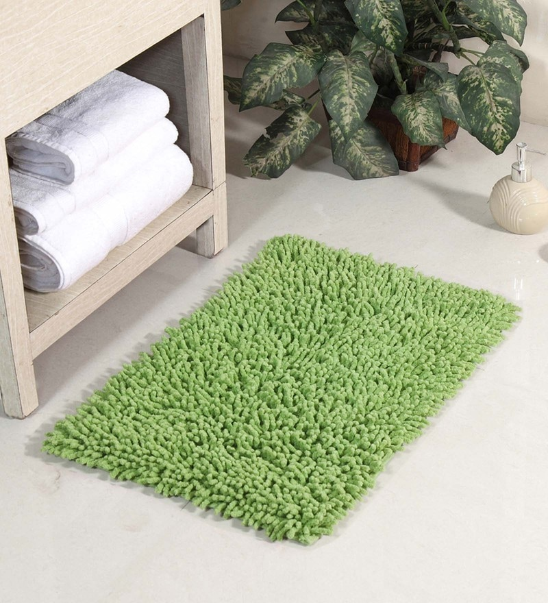 Green Cotton 24 x 16 Inch Chevy Bath Mat by HomeFurry