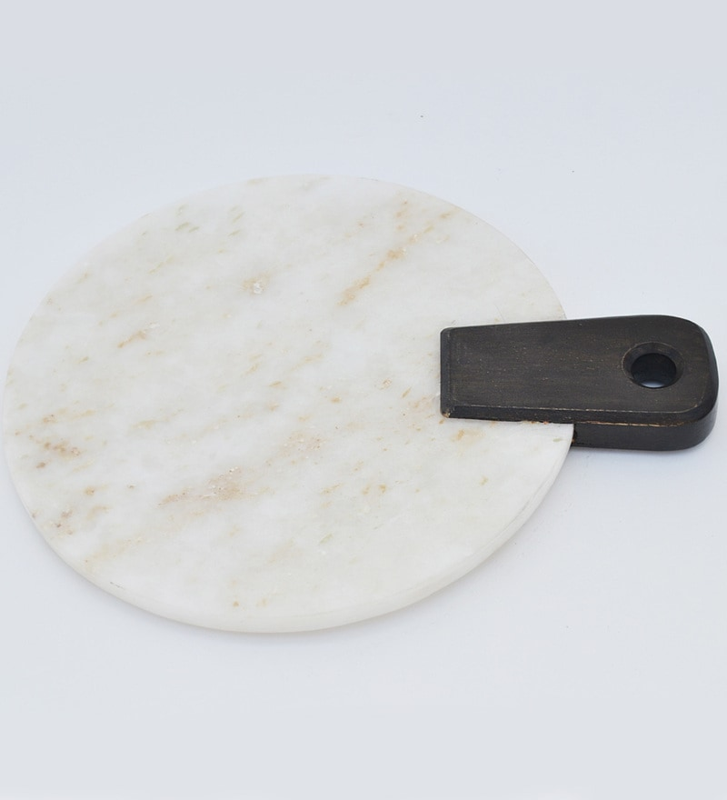 Homeight Amy Black & White Marble & Teak Wood Platter
