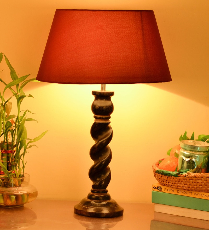 Red Cotton Table Lamp by Homesake