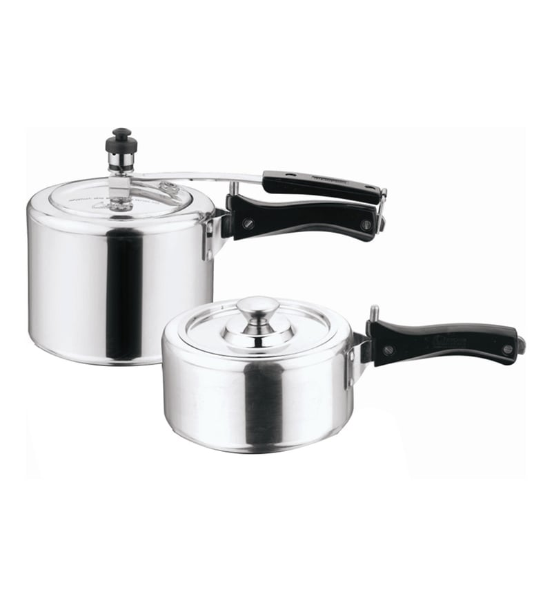 HomeZone Induction Base Aluminium Pressure Cooker With SS Lid - Set Of 2