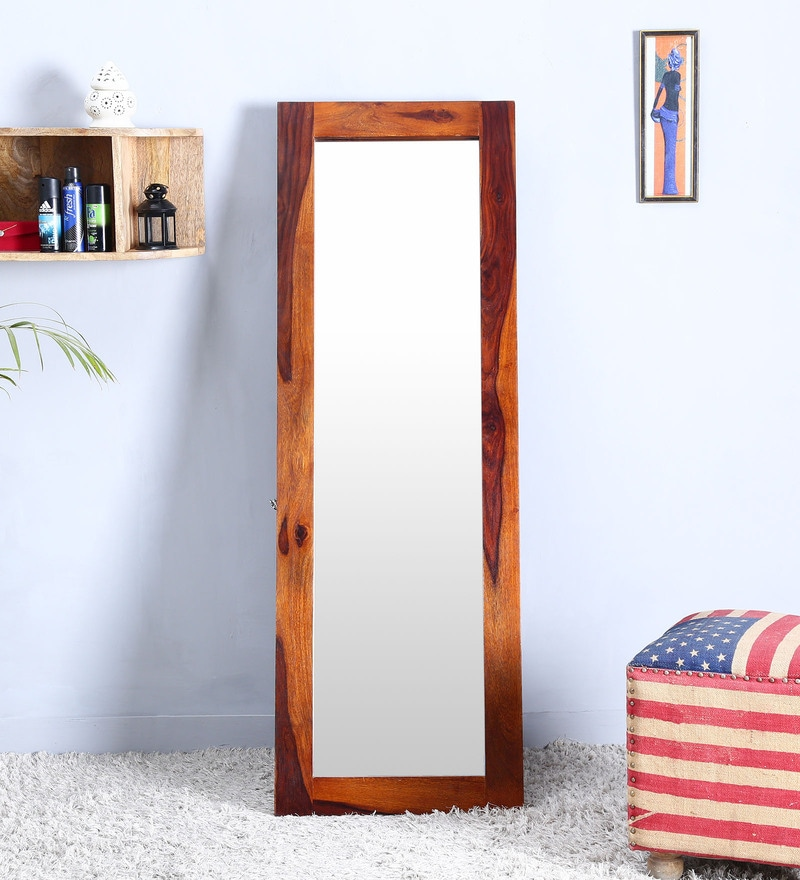 Honey Finish Sheesham Wood Full Length Floor Mirror with Stand by Woodsworth