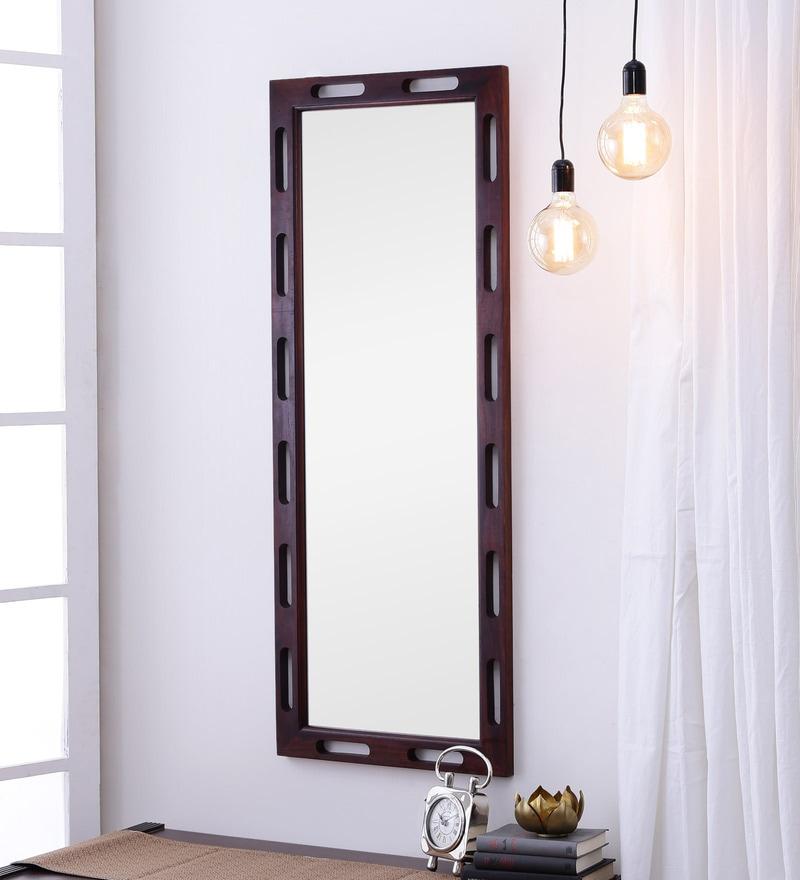 Honey Oak Sheesham Wood Rajputana Handcrafted Full Length Mirror by DHI