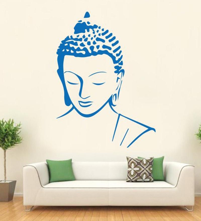 Vinyl Meditating Buddha Calm Face Wall Decal By Hoopoe Decor