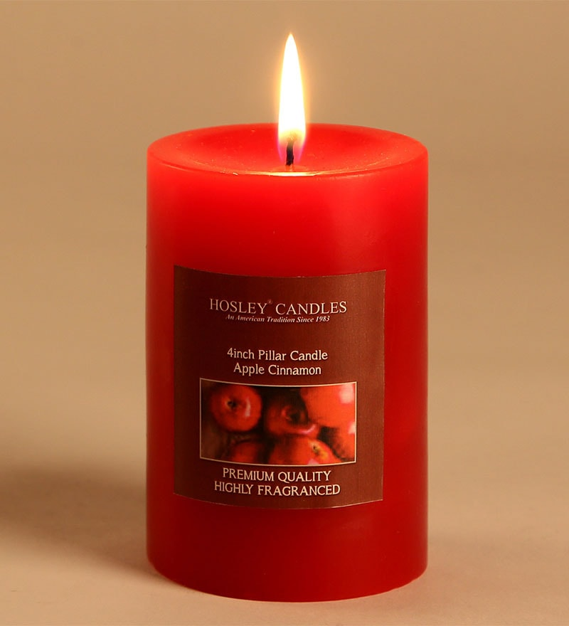 Apple Cinnamon Red Pillar Candle by Hosley