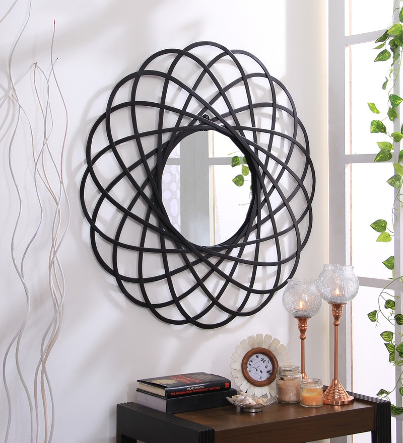 Black Iron Decorative Circular Sprial Wall Mirror by Hosley