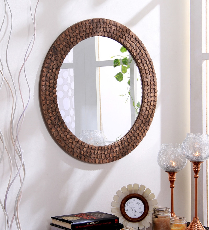 Brown Wood & MDF Decorative Round Log Slices Carved Wall Mirror by Hosley