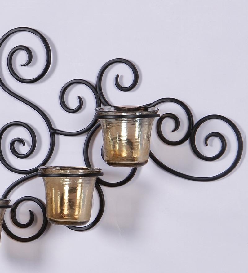 Buy Hosley Black Metal Decorative Candle Holder Online - Candle Holders - Candle Holders - Pepperfry