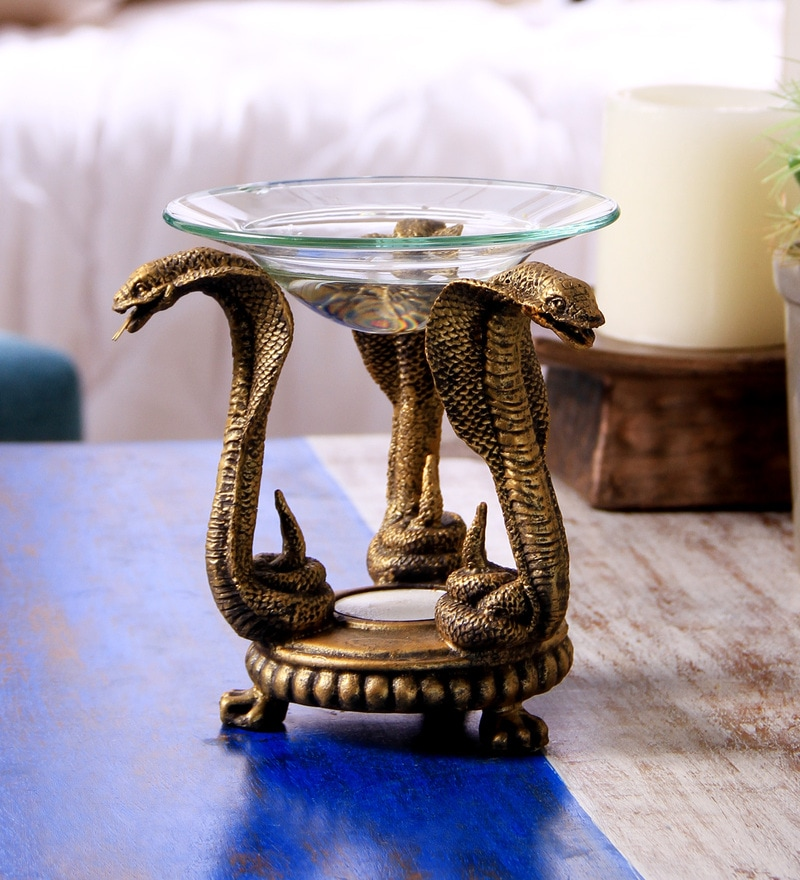 Gold Resin Snake Tealight Oil Warmer by Hosley