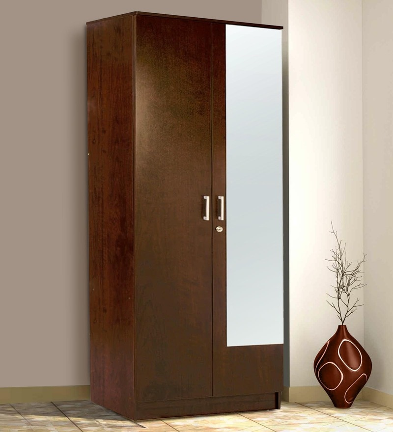 Hotaka Two Door Wardrobe with Mirror in Walnut Finish by Mintwud