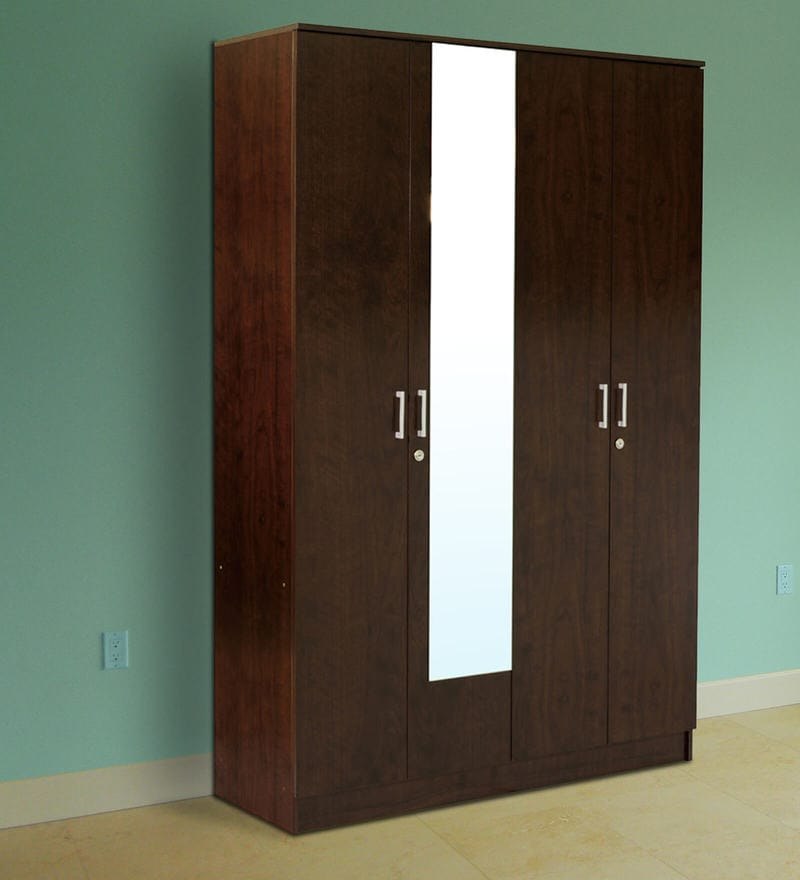 Hotaru Four Door Wardrobe with Mirror in Walnut Finish by Mintwud