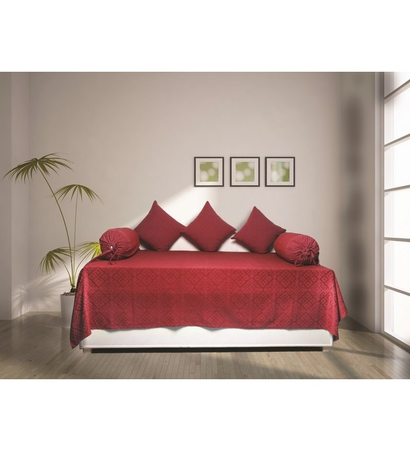 Red Cotton Diwan Sets - Set of 6 by House This