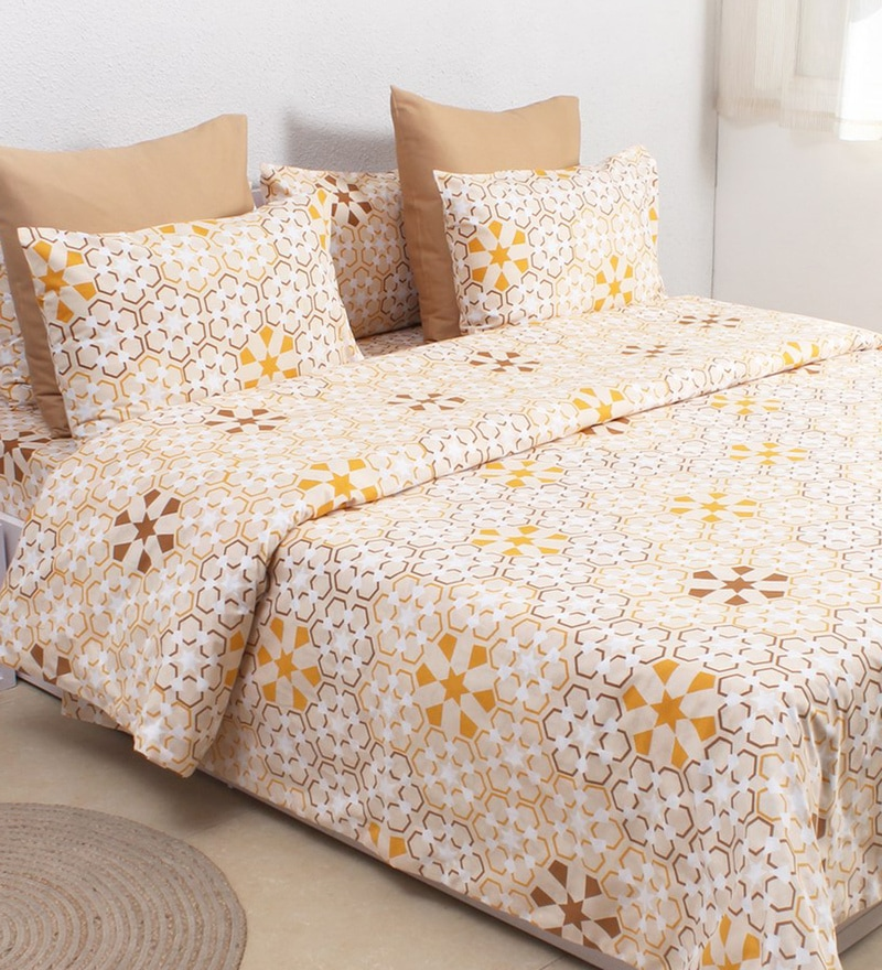 Beige 100% Cotton Double Size Duvet Cover by House This