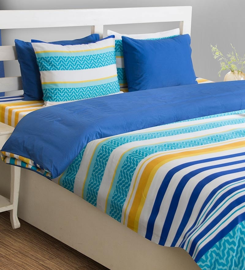 House This Outer Inner Polyfill Blue Cotton Abstract Duvet Cover