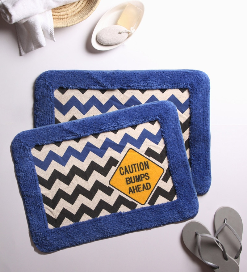 Blue 100% Cotton 16 x 24 Bath Mat - Set of 2 by House This