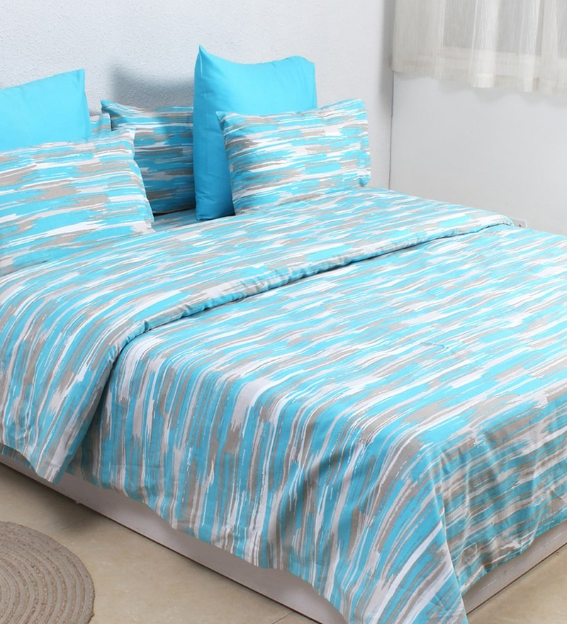 Blue 100% Cotton Double Size Duvet Cover by House This