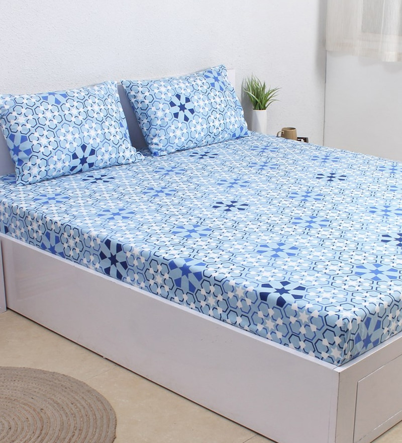 Blue 100% Cotton Single Size Bedsheet - Set of 2 by House This