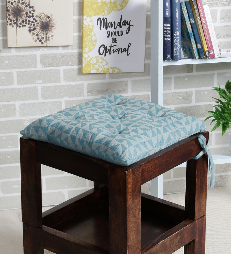 Blue Cotton 16 x 16 Inch The Chaotic Triangles Chair Pad by House This