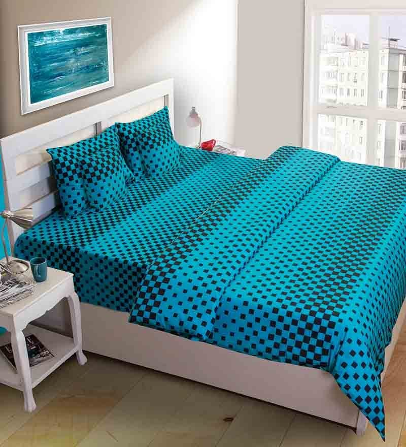 House This Square Design Blue Cotton Double Bed Sheet (with Pillow Covers) - Set of 3