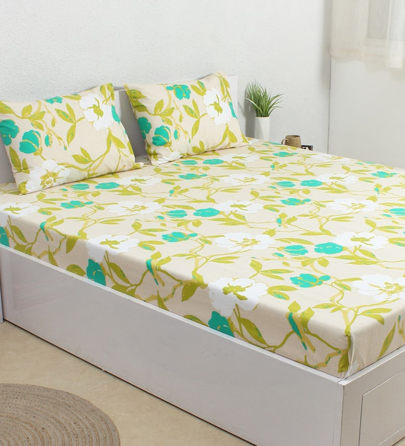 Green 100% Cotton Single Size Bedsheet - Set of 2 by House This