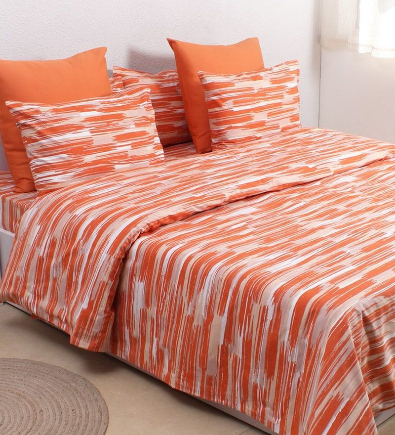 Orange 100% Cotton Double Size Duvet Cover by House This
