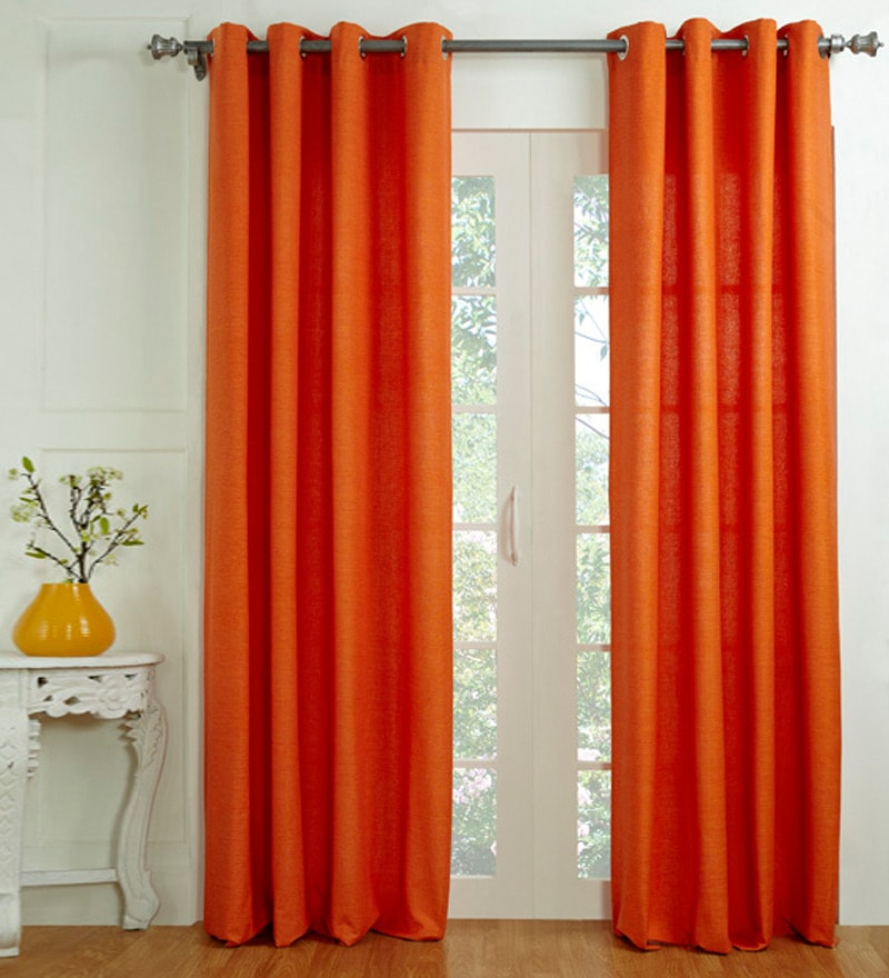 Orange Cotton 60 x 48 Inch Solid Window Curtain - Set of 2 by House This