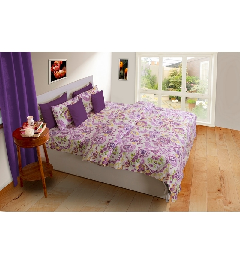 Purples Nature & Florals Cotton Queen Size Bed Sheets - Set of 3 by House This