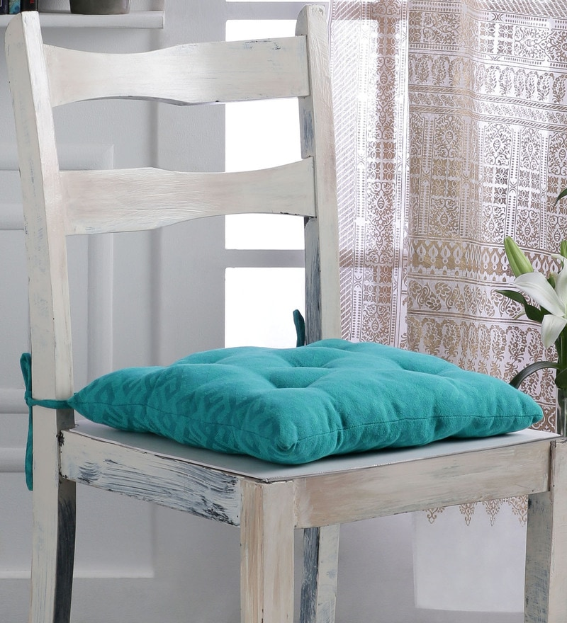 Sea Green Cotton 16 x 16 Inch Boho Chair Pad by House This