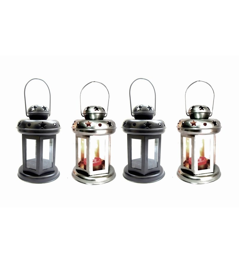 Black & Silver Iron Lantern - Set Of 4 by House2home