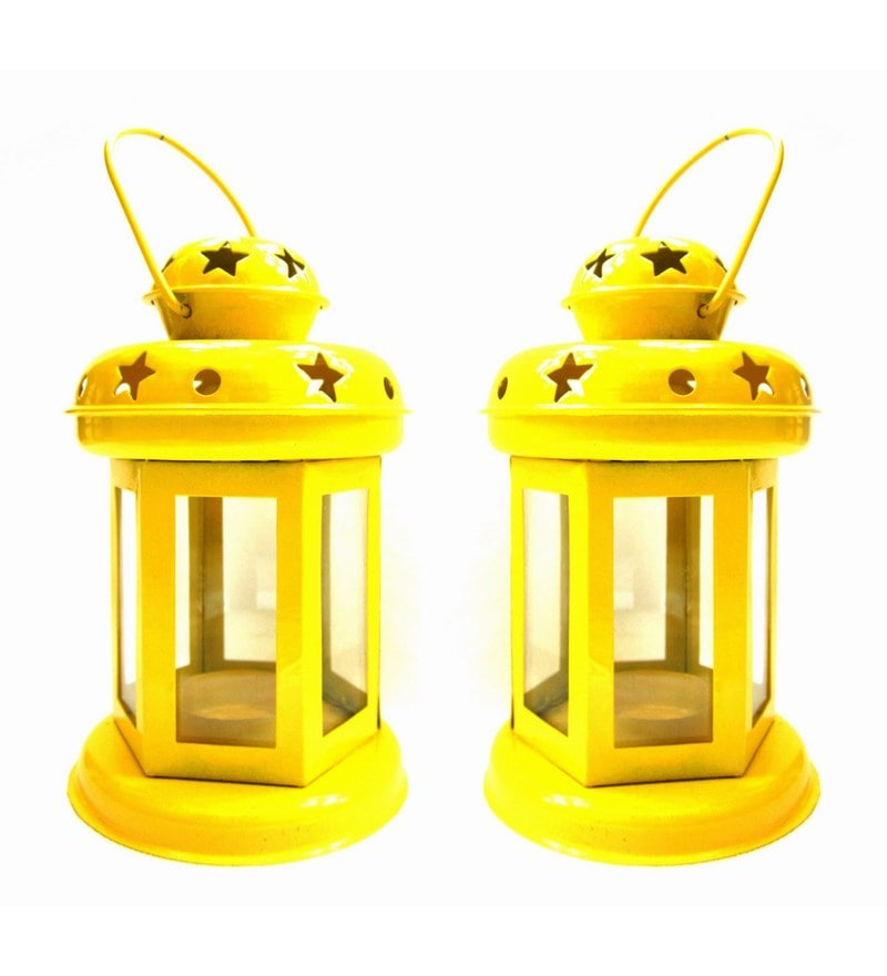 Yellow Iron Diwali Lantern - Set Of 2 by House2home