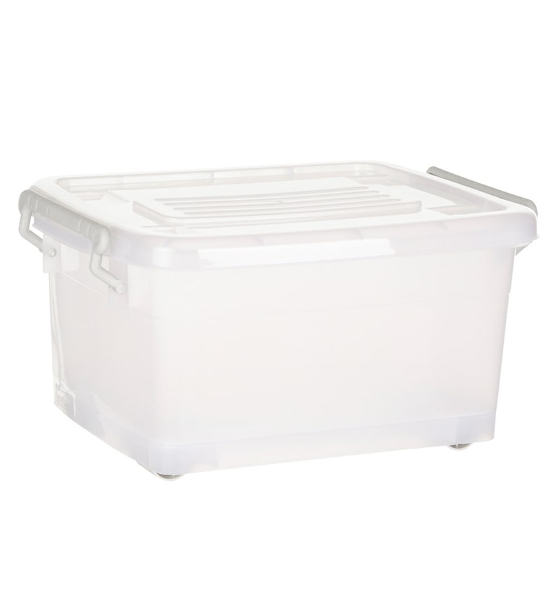 Howards Storage World Easi Store Plastic 15 L Storage Box with Wheels
