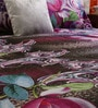 Home Creation Pink & Brown Polyester Floral 94 x 86 Inch Double Bed Sheet (with Pillow Covers)