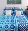 Home Ecstasy Blue Cotton Queen Size Bed Sheet - Set of 3
