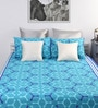 Blue Cotton Printed Double Bed Sheet with 2 Pillow Covers-Set of 3 by Home Ecstasy