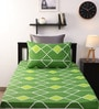 Home Ecstasy Green Cotton Single Bed Sheet with 1 Pillow Cover-Set of 2