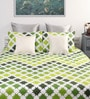Green Cotton Printed Single Bed Sheet with 2 Pillow Covers-Set of 3 by Home Ecstasy