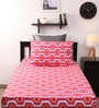 Pink Cotton Single Bed Sheet with 1 Pillow Cover-Set of 2 by Home Ecstasy