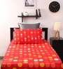 Home Ecstasy Red Cotton Single Bed Sheet with One Pillow Cover-Set of 2