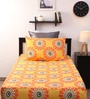 Home Ecstasy Yellow Cotton Single Bed Sheet - Set of 2