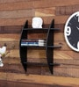 Black Engineered Wood 3 Tier Wall Shelf by Home Sparkle