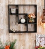 Black Engineered Wood Square Shelf by Home Sparkle