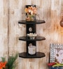 Black Mango Wood 3 Tier Round Shelf by Home Sparkle