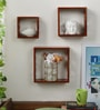 Home Sparkle Brown Engineered Wood Cube Shelves - Set of 3