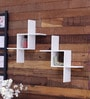 Intersecting Angles Wall Shelves (Set of 2) in White Finish by Home Sparkle