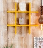 Yellow Engineered Wood Plus Shaped Wall Rack by AYMH