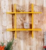 Yellow Engineered Wood Plus Shaped Wall Rack by Home Sparkle