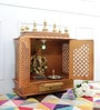 Homecrafts Gold MDF & Mango Wood Large Home Temple with Door