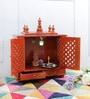 Honey MDF & Mango Wood Medium Home Temple with Door by Homecrafts