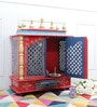 Multicolour MDF & Mango Wood Large Home Temple with Door by Homecrafts