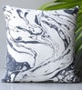 Homeight Black Cotton 16 x 16 Inch Marblania Cushion Cover